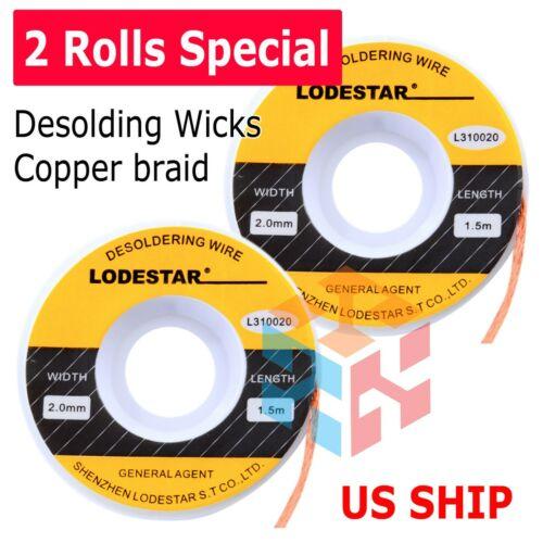2X 2.0mm Desoldering Braid Wick Solder Remover w/ No Residue Rosin Flux 5 FT US