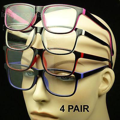 4 PAIR PACK LOT READING GLASSES SPRING HINGE ARM POWER LENS NEW MEN WOMEN