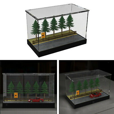 1/64 Mini Parking Lot For Diecast Model Car Display Case w/ Dustproof Cover