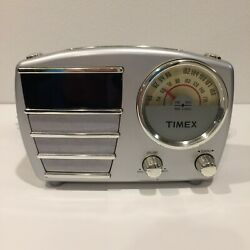 Retro Style TIMEX ALARM CLOCK RADIO; Model T247S, Silver; Tested & Works Well!