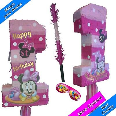 Minnie one Pinata Number 1 Girls Smash Party Fun Stick Mouse Club House 1st No. - Minnie Mouse Pinatas