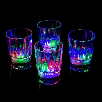 4 to 96 Plastic LED Flashing Shot Glasses Light Up Luminous Barware Party Fun UK - Plastic Party Glassware
