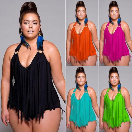 Damen Quaste Monokini Bikini Einteiler Bademode Badeanzug Schwimmanzug Plus Size