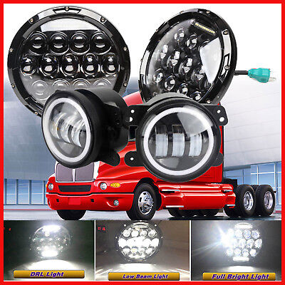 7'' LED Headlights Hi/Lo Beam DRL Lamps For Kenworth T2000 1998-2010 + Foglights