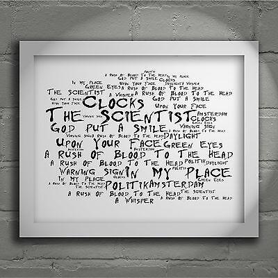 `Noir Paranoiac` COLDPLAY Art Print Typography Song Lyrics Signed Wall Poster