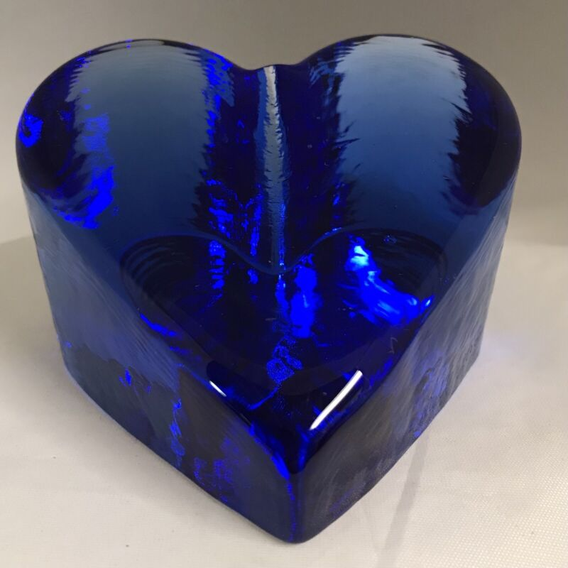 Fire and Light 2000 Cobalt Blue Art Glass Heart Paperweight Signed