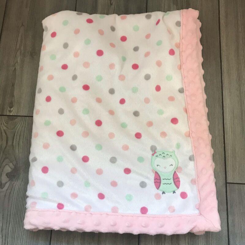 Carters Child Of Mine pink Owl Baby Blanket Minky Gray Polka Dot Sherpa Lovey