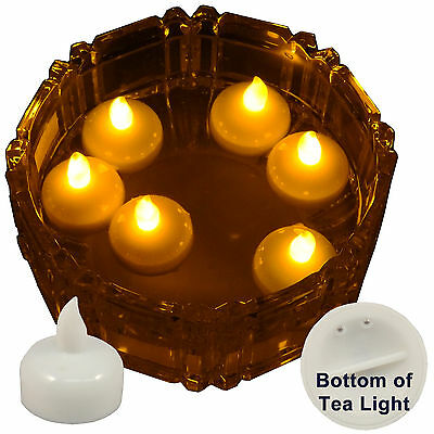 6 X Waterproof LED Floating Amber Tea Light Flameless Candle Wedding Party Xmas