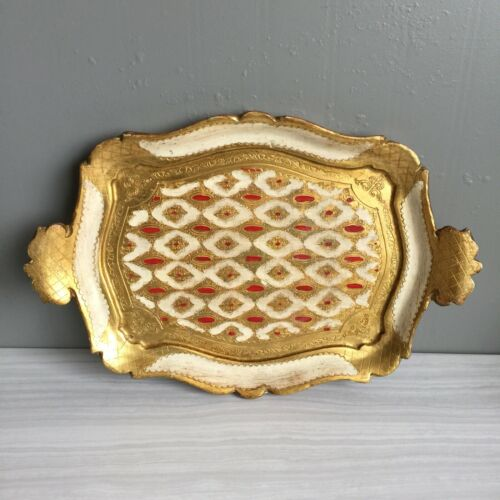 Vintage Florentine Italian Gold Gilt Red Dot Tole Wood Handle Tray Platter 14x9  - $24.98