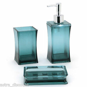 3pc aqua bathroom accessory set soap dish dispenser tumbler toothbrush holder ebay - Bathroom soap dish sets ...