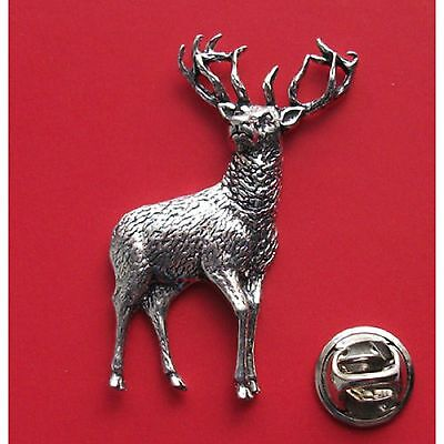 English Pewter STAG  Pin Badge Tie Pin / Lapel Badge (XTSBPA31)