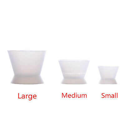 3 Pcsset Dental Flexible Rubber Silicone Mixing Bowls Cup Nonstick Mixed Sml