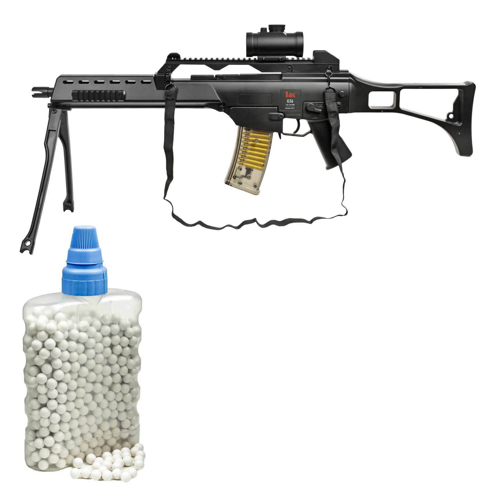SET Heckler & Koch G36 Sniper Softair-Gewehr 6 mm BB < 0,5 Joule (P14) + 800 BB