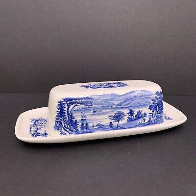 Vintage LIiberty Blue & White Colonial Scene Butter Dish - Lafayette Landing