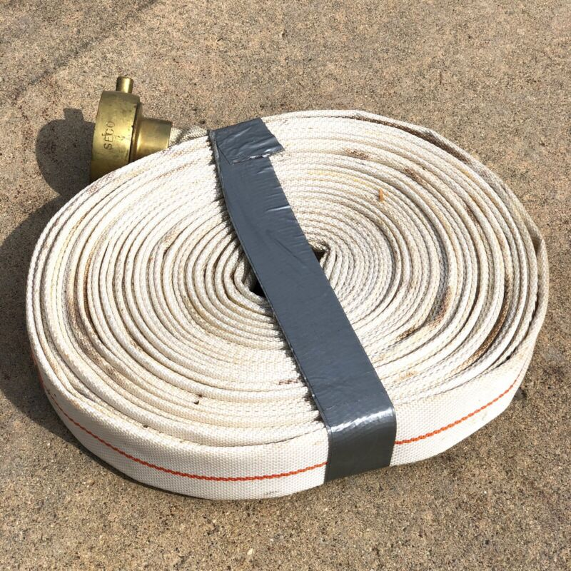 Fire Hose SECO Standard 100 Ft 1 1/2 In Male/Female Brass Coupling Good