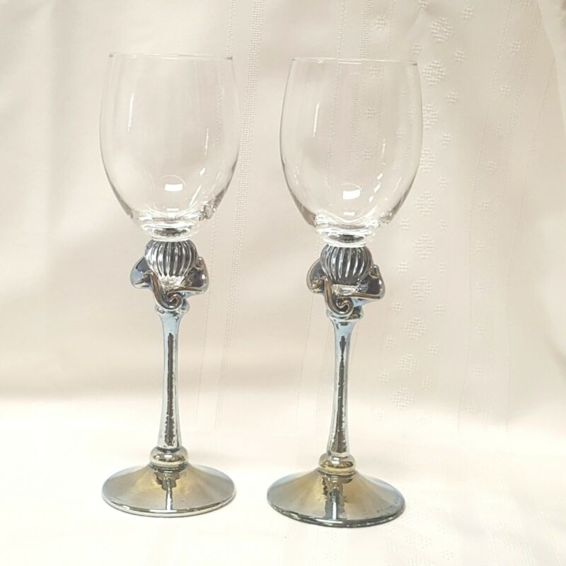 2 Hand Blown Glass Art Wine Glasses. Iridescent Fluting above Iridescent Stems.