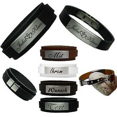 2 Echt Leder Partner Armbänder Set  20 mm & 12 mm Gravur Name Liebe  Freunde