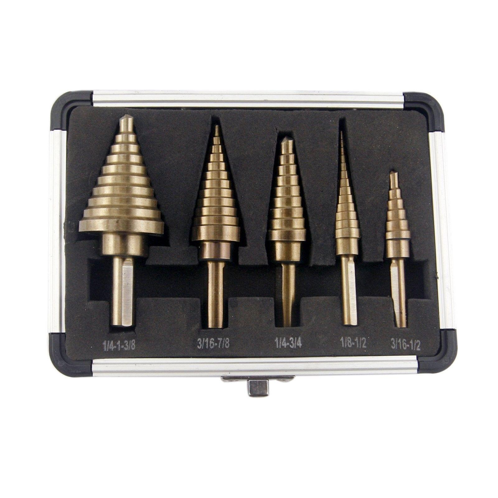 Hss industrial drill bits ebay co z 5pcs hss cobalt multiple hole 50 sizes step drill bit set with aluminum greentooth Images