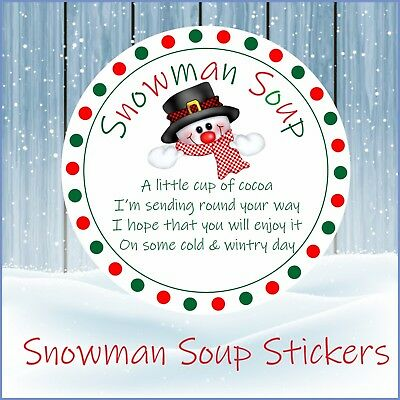 33 Snowman Soup Christmas Stickers, Labels, Seals, School - Valentine's Day Fundraiser