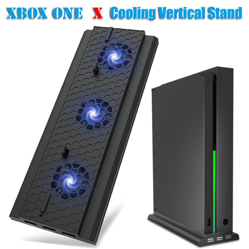 For Xbox One X Console Cooler Cooling Dock Vertical Stand W/ 3 Cooling Fan 3 USB
