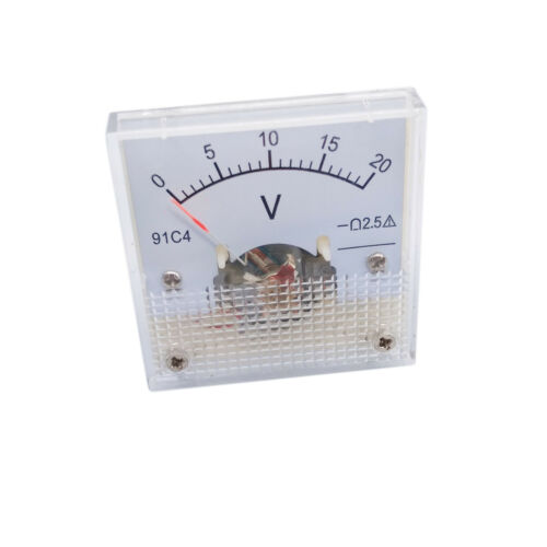 US Stock DC 0 ~ 20V Square Analog Volt Pointer Needle Panel Meter Voltmeter 91C4