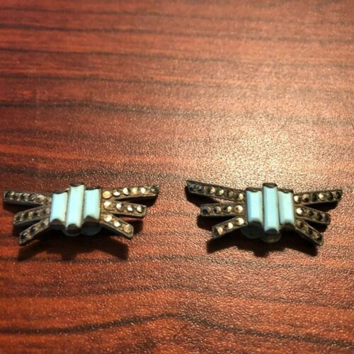 Art Deco W.J. Fleming 1919 Pat Turquoise & Marcasite Buckle Support Clips