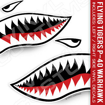 - Flying Tigers Shark Teeth Vinyl Decal Stickers v2 P-40 Warhawk 1 Pair - 3