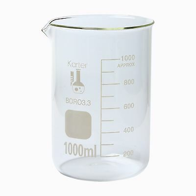 Karter Scientific 6 Pack 1000 Ml Low Form Graduated Glass Beaker