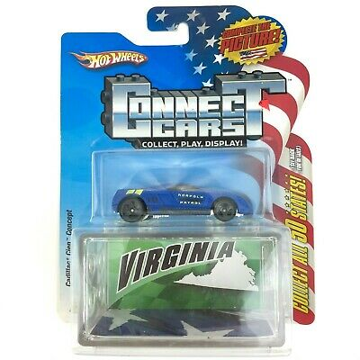 Hot Wheels Connect Cars VIRGINIA Cadillac Cien Concept Car Blue Die Cast 1/64
