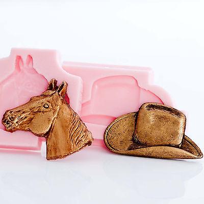 Cowboy Hat Horse Head Mold Set Clay Fondant Sugarcraft Resin Sculpey Mold  (222)
