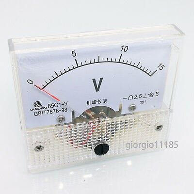 Us Stock Analog Panel Volt Voltage Meter Voltmeter Gauge 85c1 0-15v Dc