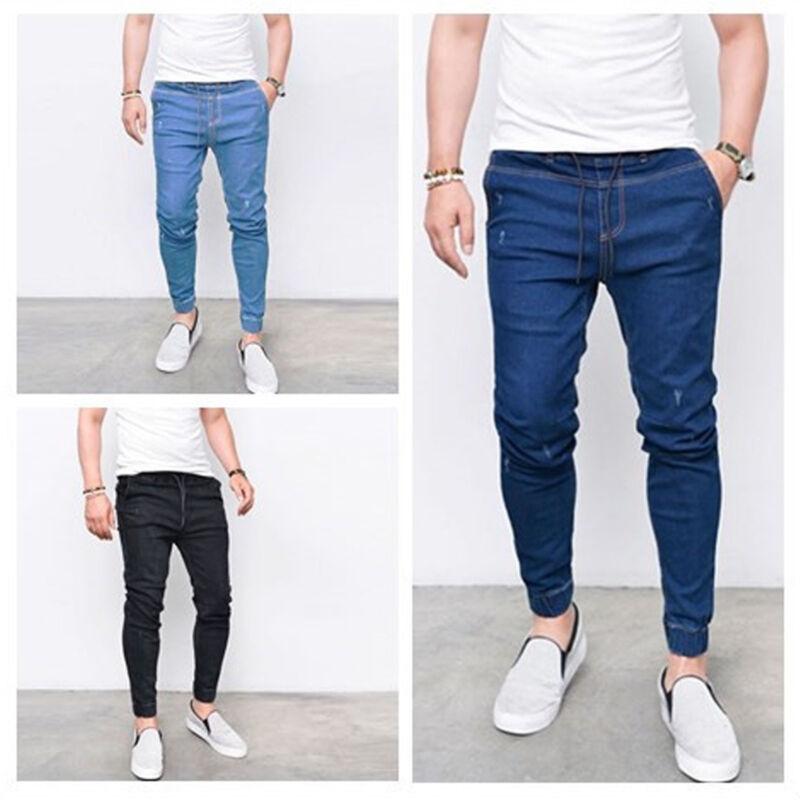 Men's Slim Fit Skinny Stretchy Jeans Drawstring Pant Biker L