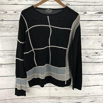 Versace Classic Womens Print Black Gray Italian Long Sleeve Knit Sweater XL