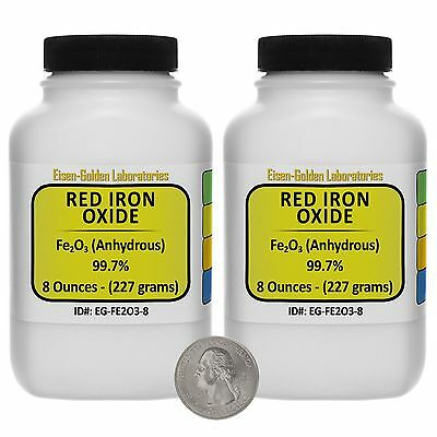 Red Iron Oxide Fe2o3 99.7 Acs Grade Powder 1 Lb In Two Wide-mouth Bottles Usa