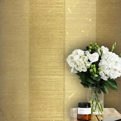 (Wallpaper Gold Bronze Metallic Textured Striped Modern Stripes Wallcoverings 3D)