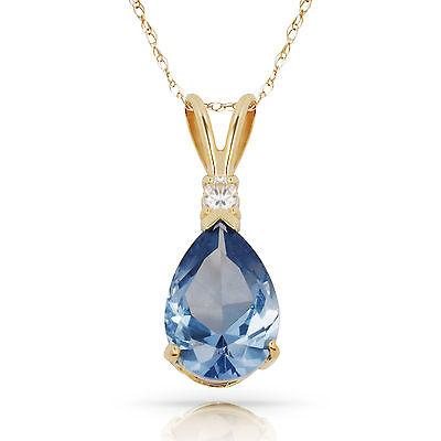 3.05CT Aquamarine Pear Shape 2 Stone Gemstone Pendant & Necklace 14K Yellow Gold