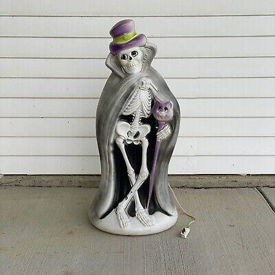 Halloween Blow Mold Dapper Skeleton Light 34 Inch Tall Plastic Vintage Blow Mold