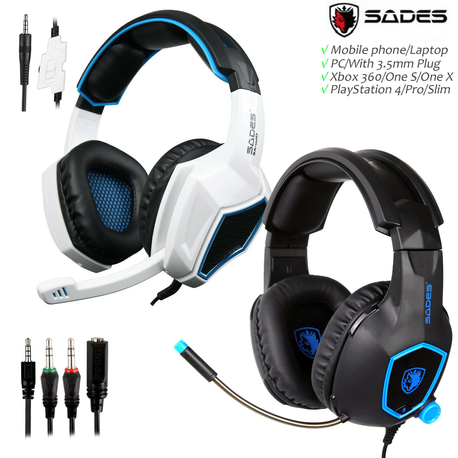 SADES SA818 Gaming Headset 3.5mm Wired Headphone Earphone for PS4 New XboxOne PC