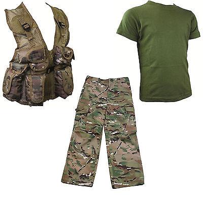 Enfants Pack 4 HMTC mtp multicam PACK militaire armée Dog Tags Fancy Dress Ceinture