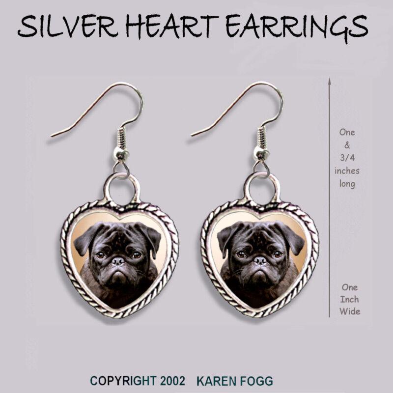 PUG DOG Black - HEART EARRINGS Ornate Tibetan Silver