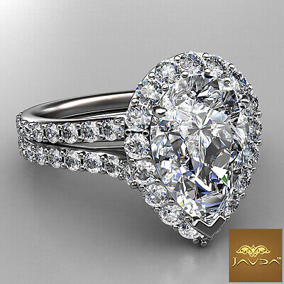 Halo Pave Set Pear Diamond Engagement Wedding Ring GIA I Color VS2 Clarity 2.3Ct 1
