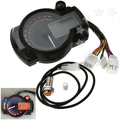LCD Motorcycle Speedometer Odometer Tachometer MPH KPH Gauge Volmeter 2/4 Stroke