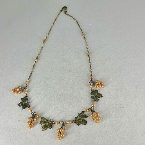 "Vintage Art Deco Necklace Brass Grape Leaves Peach Faux Pearl Grapes 15 1/2"""