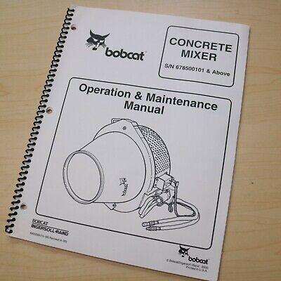 Bobcat Concrete Mixer Owner Operator Maintenance Manual Operation Guide Book