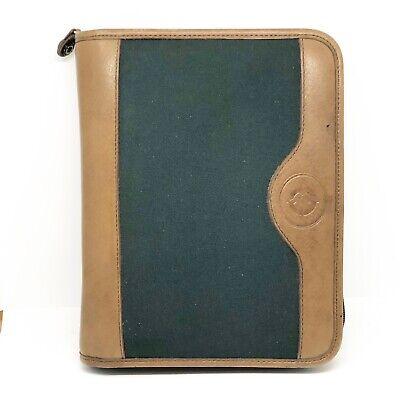 Vintage Franklin Covey Green Line Binder Leather Trim 7 Ring Zip Around Planner