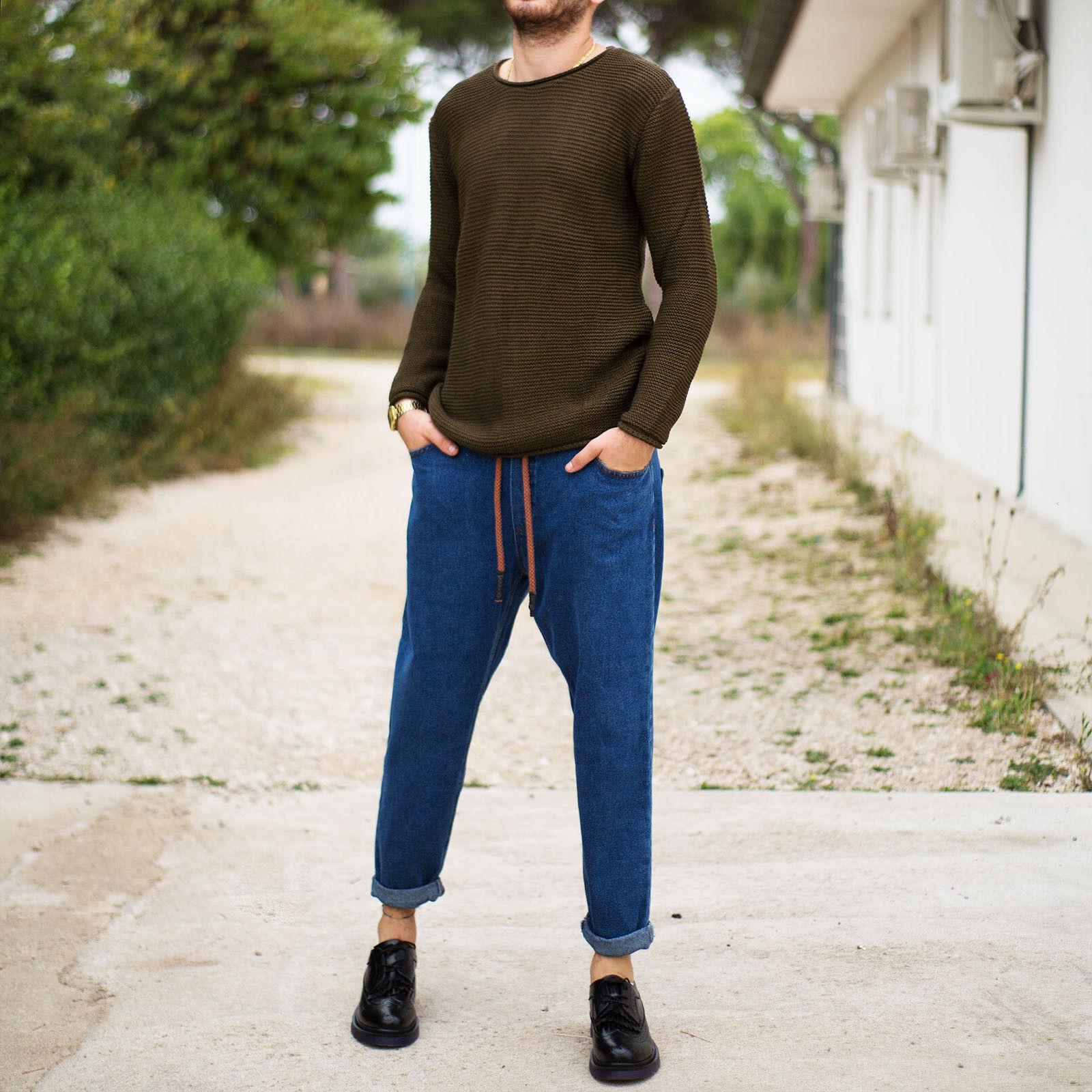 Jeans Uomo Elastico in Vita Coulisse Denim Casual Slim Fit Boyfriend New  m1802-4 e92863de625a