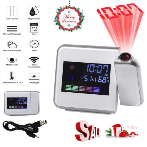 Digital LED Farbdisplay Projektion Wecker Wetterstation Thermometer  Hygrometer