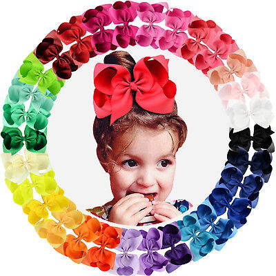 30pcs 6in Grosgrain Ribbon Big Hair Bows Alligator Clips for Girls Teens Toddler - Girl Teens