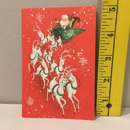 Vtg Christmas Card Santa Sleigh Eight White Reindeer Hallmark