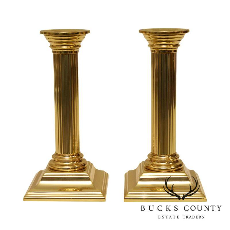 Baldwin Pair Brass Column Candlesticks